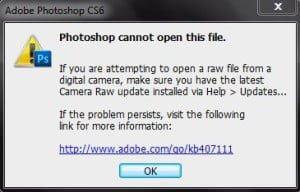Photoshop raw image import issue