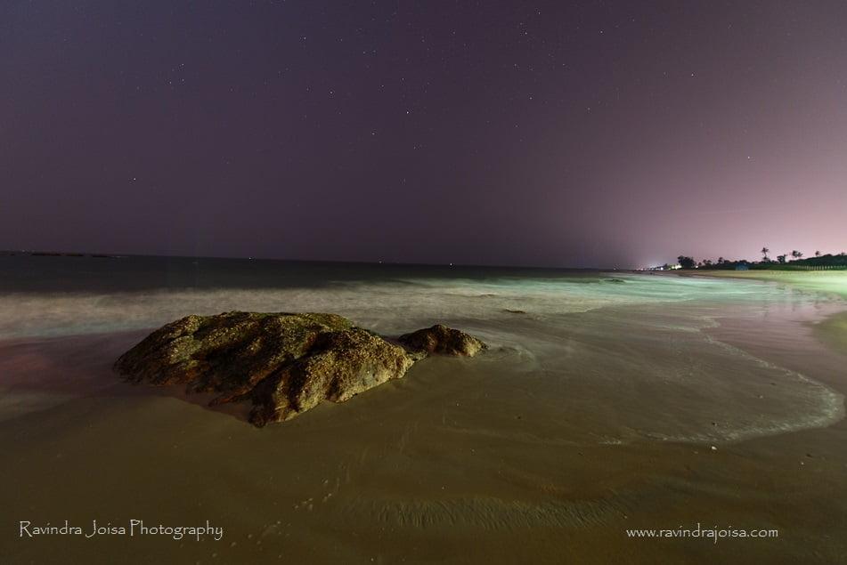 Beach waves at night